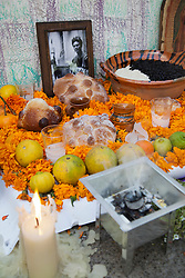 "Dia dos Mortos.Altar com oferendas e homenagem a Frida Kahlo na cidade de Coyacan, proxima  "" A Casa Azul "", onde a artista morou./ Day of the Dead. Altar with offerings and homage to Frida Kahlo in the city of Coyacan, next ""The Blue House,"" where the artist lived."