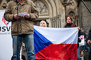 """Lutz Bachmann, leader of the anti-Islam movement PEGIDA (Patriotic Europeans Against the Islamisation of the West) speaking in front of a few hundred people which gathered in Prague to protest the EU's migrant policies and against Islam in general, """"We do not want Islam in Czech Republic"""" is the slogan. The rally was attended by members of Polish and German far right groups such as members of the Pegida movement from Dresden."""