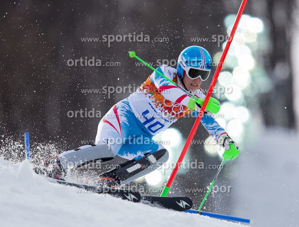 14.02.2014, Rosa Khutor Alpine Center, Krasnaya Polyana, RUS, Sochi 2014, Super- Kombination, Herren, Slalom, im Bild Otmar Striedinger (AUT) // Otmar Striedinger of Austria in action during the Slalom of the mens Super Combined of the Olympic Winter Games 'Sochi 2014' at the Rosa Khutor Alpine Center in Krasnaya Polyana, Russia on 2014/02/14. EXPA Pictures © 2014, PhotoCredit: EXPA/ Johann Groder