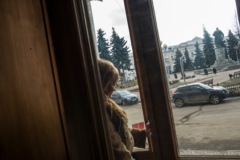Inessa Rozova, Alexander Panin's mother, leaves the city administration building after attempting to meet with the mayor on Tuesday, February 25, 2014 in Tver, Russia. Panin, a Russian citizen who was arrested in the Dominican Republic in June 2013, is set to be charged by federal authorities in the US with being part of a gang which robbed bank accounts via the Internet. Photo by Brendan Hoffman, Freelance