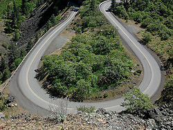 Looking down of a part of the Rowena Loops, severe S-curve on the Lincon Highway (US Rt 30) in the Columbia River Gorge National Scenic Area, Oregon, USA.