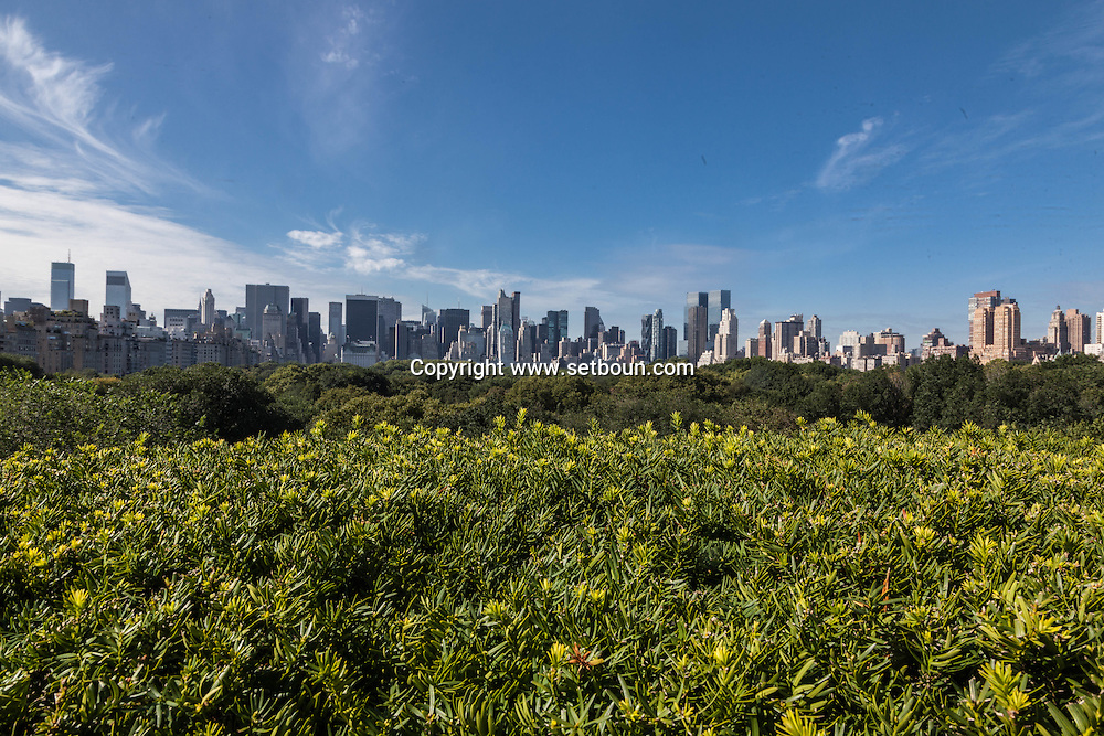 New York. elevated view.  panoramic view on city skyline  and central park south  New York - United States / vue panoramique sur le skyline de Manhattan et central park south  New York - Etats unis