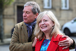 © Licensed to London News Pictures. 22/04/2017. Batley, UK. Sitting MP Tracy Brabin on the campaign trail with Emmerdale actor John Middleton in her constituency of Batley. Brabin only became an MP earlier this year after the murder of Jo Cox. Prime minister Theresa May fired the starting gun on an early general election this week. The snap election will be held on June 8th. Photo credit : Ian Hinchliffe/LNP