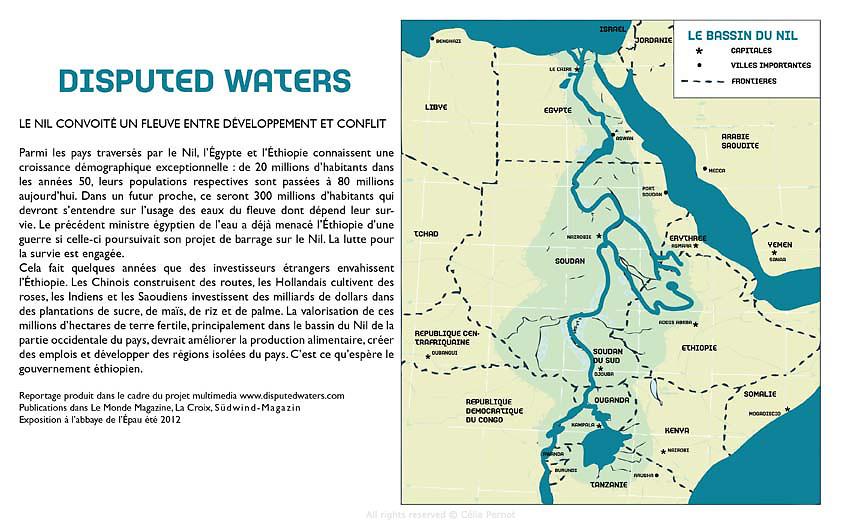 Parmi les pays travers&eacute;s par le Nil, l'&Eacute;gypte et l'&Eacute;thiopie connaissent une croissance d&eacute;mographique exceptionnelle : de 20 millions d'habitants dans les ann&eacute;es 50, leurs populations respectives sont pass&eacute;es &agrave; 80 millions aujourd'hui. Dans un futur proche, ce seront 300 millions d'habitants qui devront s'entendre sur l'usage des eaux du fleuve dont d&eacute;pend leur survie. Le pr&eacute;c&eacute;dent ministre &eacute;gyptien de l'eau a d&eacute;j&agrave; menac&eacute; l'&Eacute;thiopie d'une guerre si celle-ci poursuivait son projet de barrage sur le Nil. La lutte pour la survie est engag&eacute;e.<br /> Cela fait quelques ann&eacute;es que des investisseurs &eacute;trangers envahissent l'&Eacute;thiopie. Les Chinois construisent des routes, les Hollandais cultivent des roses, les Indiens et les Saoudiens investissent des milliards de dollars dans des plantations de sucre, de ma&iuml;s, de riz et de palme. La valorisation de ces millions d'hectares de terre fertile, principalement dans le bassin du Nil de la partie occidentale du pays, devrait am&eacute;liorer la production alimentaire, cr&eacute;er des emplois et d&eacute;velopper des r&eacute;gions isol&eacute;es du pays. C'est ce qu'esp&egrave;re le gouvernement &eacute;thiopien.