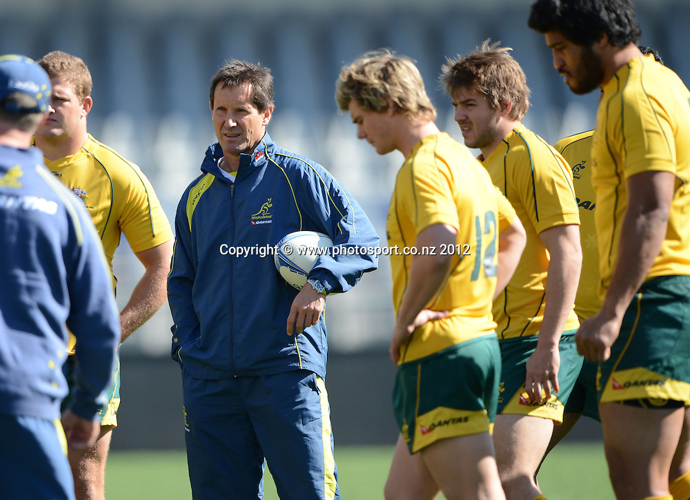 Australian Coach Robbie Deans during the Australian Wallabies Captain's Run at Eden Park ahead of the Bledisloe Cup and Rugby Championship test match against the New Zealand All Blacks tomorrow. Friday 24 August 2012. Photo: Andrew Cornaga/Photosport.co.nz