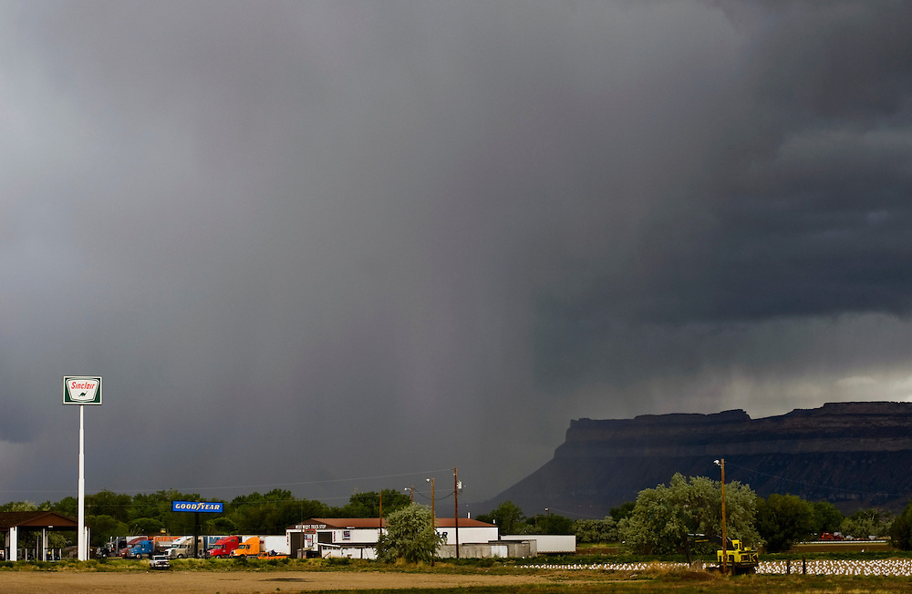 Greyhound trip..Storm clouds over Green River, Utah...Photographer: Chris Maluszynski /MOMENT
