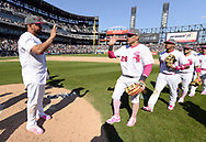 CHICAGO - MAY 14:  Melky Cabrera #53 and Avisail Garcia #26 of the Chicago White Sox celebrate after the game against the San Diego Padres on May 14, 2017 at Guaranteed Rate Field in Chicago, Illinois.  The White Sox defeated the Padres 9-3 .  (Photo by Ron Vesely)  Subject: Melky Cabrera; Avisail Garcia
