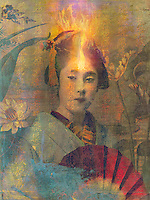 Fire in the mind of a geisha girl in a garden, with overlays and textures. Fire symbolizes a new consciousness of spiritual power and transformation. Fire is one of the four elements in ancient and medieval philosophy and in astrology. Fire is the rapid oxidation of a material in the chemical process of combustion, releasing heat, and light.