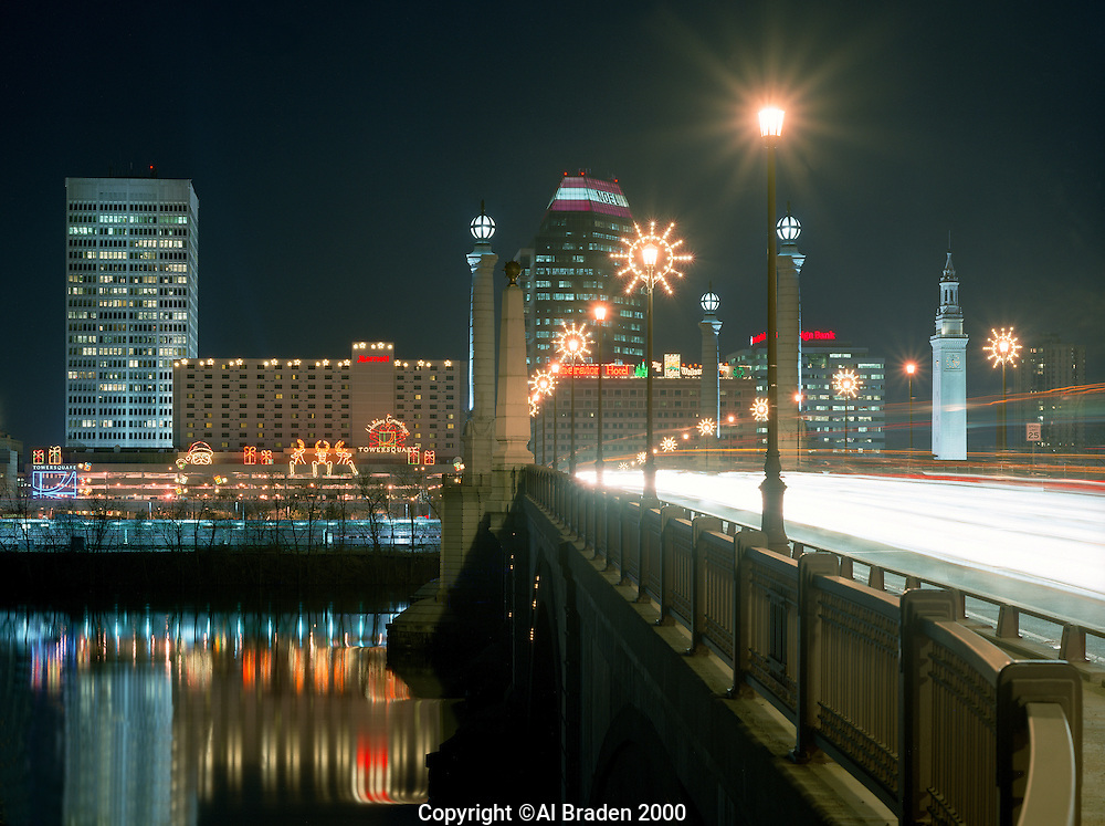 Memorial Bridge over the Connecticut River at Christmas, Springfield, MA
