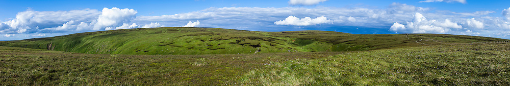 Auchope Cairn, Cheviot Hills, UK. 22nd July 2015. Looking east towards Big Cheviot (815m).