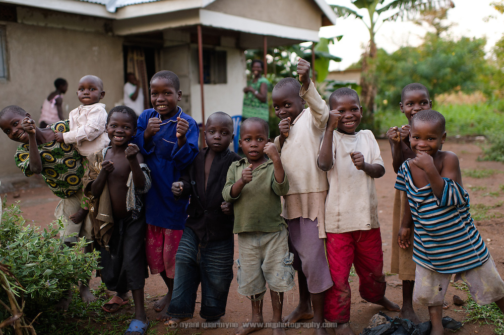 A gaggle of diminutive pugilists near Tororo, Uganda on 1 August 2014.