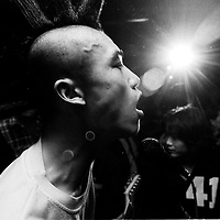 CHINA : PUNKS bw<br /> BEIJING, HAIDIAN DISTRICT, CHINA - JULY 3: Xiao Rong of &quot;Brain Failure&quot; performs at the Scream bar July 3, 1999 in the Haidan district of Beijing, China. In the spring of 1998, a handful of youngsters teamed up to unofficially rebel against conformist Chinese life. They shaved their heads, and founded bands with names like &quot;Brain Failure&quot; and &quot;Anarchy Boys.&quot; To some like punker Xiao Rong, this lifestyle was an extension of the life he'd begun as a school dropout at age 16. Although the majority of the punks came from well-off families, they preferred to live in s...<br /> See More +BEIJING, HAIDIAN DISTRICT, CHINA - JULY 3: Xiao Rong of &quot;Brain Failure&quot; performs at the Scream bar July 3, 1999 in the Haidan district of Beijing, China. In the spring of 1998, a handful of youngsters teamed up to unofficially rebel against conformist Chinese life. They shaved their heads, and founded bands with names like &quot;Brain Failure&quot; and &quot;Anarchy Boys.&quot; To some like punker Xiao Rong, this lifestyle was an extension of the life he'd begun as a school dropout at age 16. Although the majority of the punks came from well-off families, they preferred to live in self-imposed poverty. The Scream Bar and its surrounding dusty alleyways in the student district became the center of youthful rebellion until it was finally closed in 2000. The punks bands have moved on to other bars in Beijing, some received contracts with foreign record companies and even toured in Europe, Japan and the U.S.