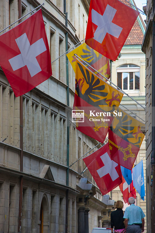 Old houses with flags, Saint Pierre Cathedral, Geneva, Switzerland