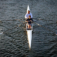 TAMPA, FL  -- Gyula Bela and his soon, Barnabas, 13, rows near the Tampa Bay Rowing Club on the University of Tampa campus near the Cass Street Bridge in Tampa, Florida. (Chip Litherland for Bay Magazine)