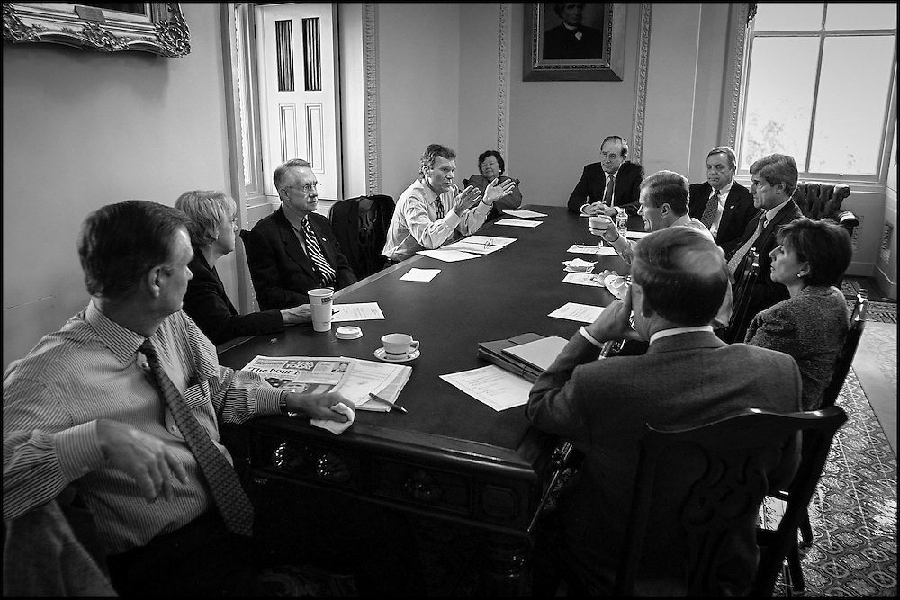 In a Democratic Leadership meeting Senate Majority Leader Tom Daschle explains what happened last night in the after hours late night meeting in Speaker Hastert's office concerning the airlines and liabilty.  9/21/01..©PF BENTLEY/PFPIX.com