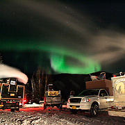 Ian Stewart/Yukon News<br /> Aurora Borealis mingles with dog truck exhaust at the Chena Hot Springs checkpoint on Saturday night.