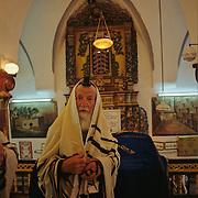 Orthodox Jewish man worshipping in Israel.