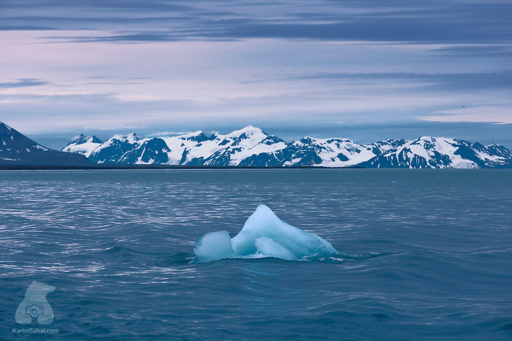 Quarter to midnight in Svalbard. Colors and icebergs have come out to play. Their game is called: Blue Your Mind.