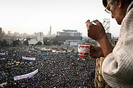 Seen from Pierre Sioufi apartment overlooking the square, massive crowd of anti-government protesters fills up Cairo's Tahrir Square. 01 February 2011.