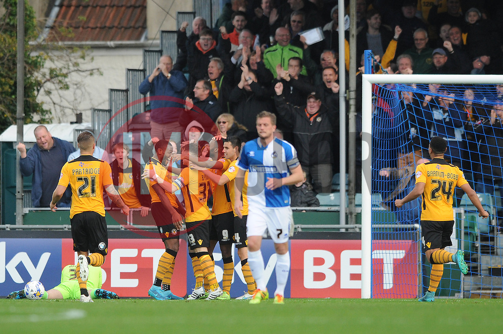 Zak Ansah of Newport County celebrates with his team mates after scoring - Mandatory byline: Dougie Allward/JMP - 07966 386802 - 24/10/2015 - FOOTBALL - Memorial Stadium - Bristol, England - Bristol Rovers v Newport County AFC - Sky Bet League Two