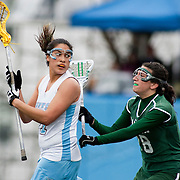 20110405 - Medford/Somerville, Mass. -  Tufts attack Stephanie Perez (A12) tries to square up against a Babson defender at Bello Field on April 5, 2011. (Kelvin Ma/Tufts University)