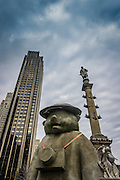 staturs and buildings at Columbus Circle in New York City
