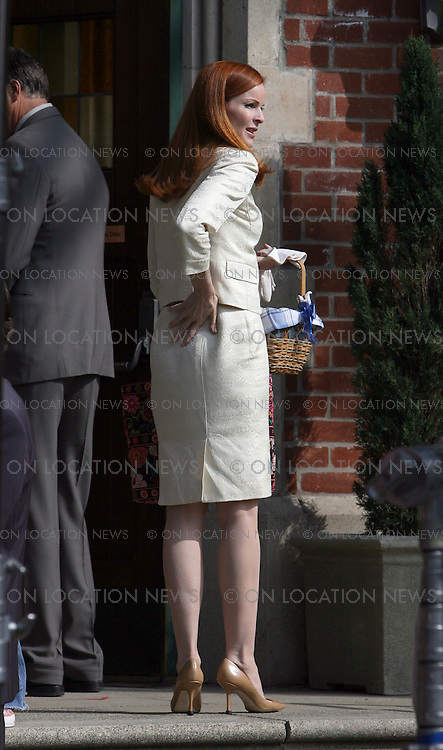 HOLLYWOOD, CALIFORNIA - Friday 29th February 2008. NON EXCLUSIVE: Marcia Cross, Kyle MacLachlan, Felicity Huffman & Doug Savant are back to work on the set of 'Desperate Housewives'. The Abc hit show was filming a scene in a church. Photograph: David Buchan/Steve Levy/On location News. Sales: Eric Ford 1/818-613-3955 info@OnLocationNews.com