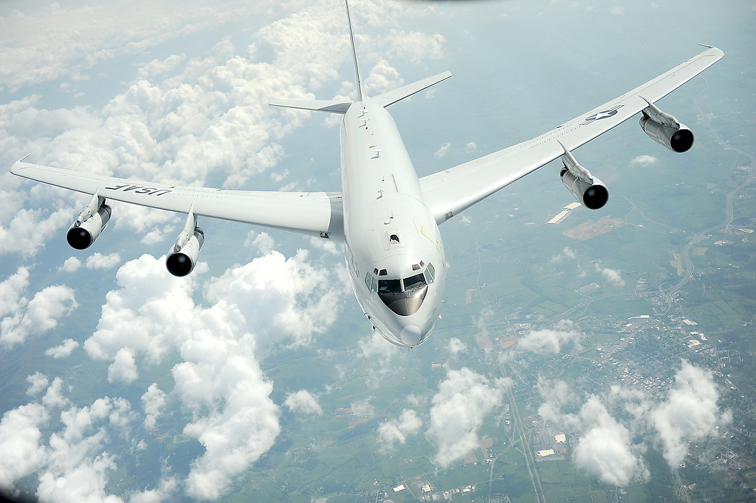 An E-8C Joint STARS from the 116th Air Control Wing, Robins Air Force Base, Georgia, pulls away on May 1, 2012, after refueling from a KC-135 Stratotanker with the 756th Air Refueling Squadron, Joint Base Andrews, Maryland. The  E-8C Joint Surveillance Target Attack Radar System, or Joint STARS, is an airborne battle management, command and control, intelligence, surveillance and reconnaissance platform. Its primary mission is to provide theater ground and air commanders with ground surveillance to support attack operations and targeting that contributes to the delay, disruption and destruction of enemy forces. — © Master Sgt. Jeremy Lock/