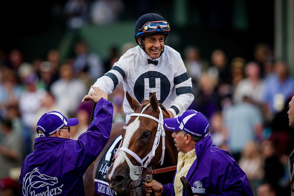 November 01 2014: Take Charge Brandi, ridden by Victor Espinoza and trained by D. Wayne Lukas, wins the Breeders' Cup Juvenile Fillies (G1) at Santa Anita Park in Arcadia, California on November 1, 2014.  Alex Evers/ESW/CSM