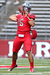 Sept 8, 2012; Piscataway, NJ, USA; Rutgers Scarlet Knights quarterback Gary Nova (15) throws a pass during the pre-game warmup for their game against Howard at High Point Solutions Stadium.
