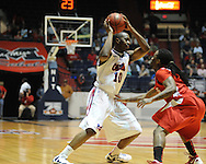 "Ole Miss' LaDarius White (10) vs. Illinois State's Bryant Allen (2) in a National Invitational Tournament game at the C.M. ""Tad"" Smith Coliseum in Oxford, Miss. on Wednesday, March 14, 2012. (AP Photo/Oxford Eagle, Bruce Newman)"