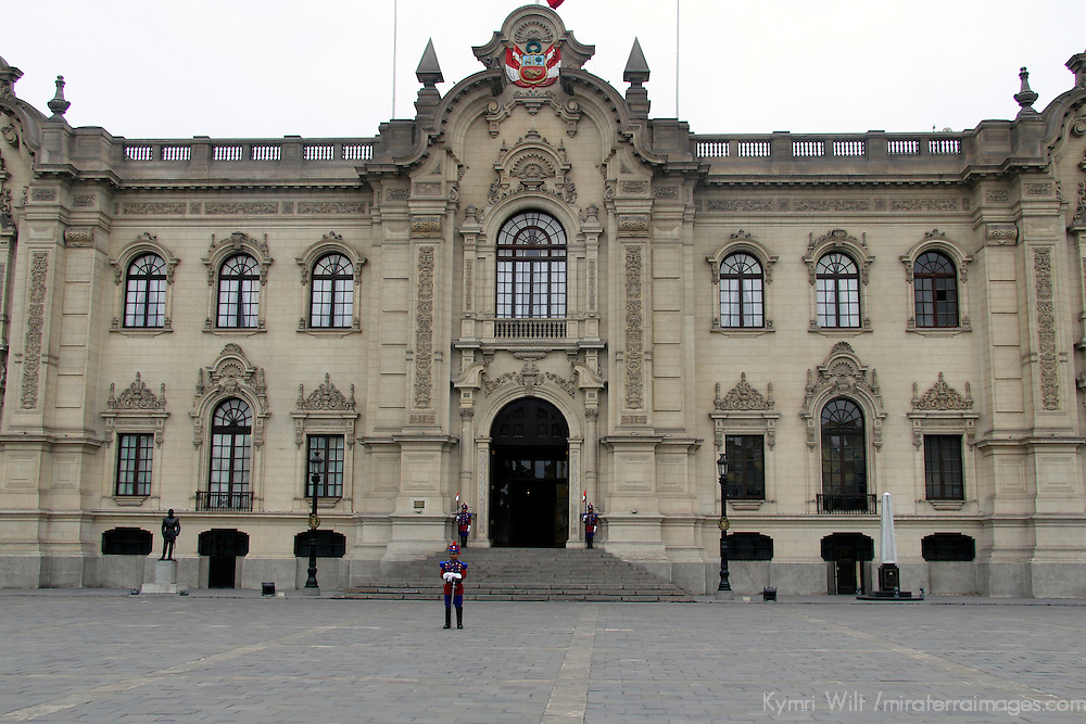 South America, Peru, Lima. The Government Palace of Peru, also known as House of Pizarro.