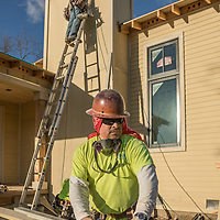 A Yuba City resident with 23 years in the construction trades, Luis Farias works on a new house at the corners of West Money Lane and Mora Avenue in Calistoga.