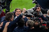 EINDHOVEN - PSV - SC Heerenveen , Eredivisie , voetbal , Philips stadion , seizoen 2014/2015 , 18-04-2015 , PSV Trainer Philip Cocu viert met zijn staff de overwinning en het kampioenschap
