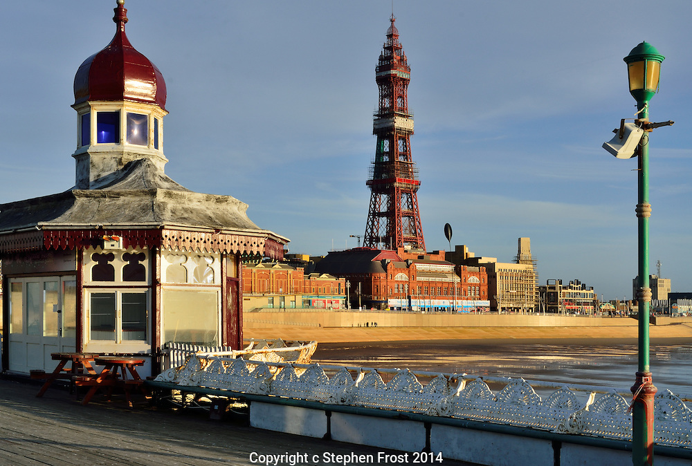 Blackpool Tower is an iconic landmark and tourist attraction in the Lancashire seaside town of Blackpool in Northwest England.<br /> <br /> North Pier is the most northerly of the three coastal piers in Blackpool, opened in 1863.