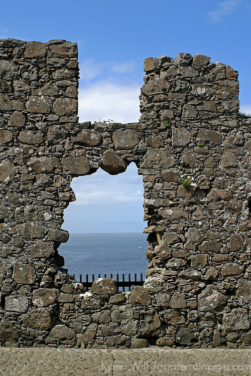 Europe, Ireland, Northern Ireland, Bushmills. Dunluce Castle window to the sea.