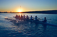 The River City rowing club begins an early morning practice in the deep water basin in West Sacramento.