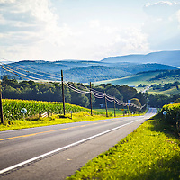 The Lincoln Highway meanders through the countryside in central Pennsylvania. <br /> <br /> /// ADDITIONAL INFORMATION: 7/20/11 - travel.Lincoln.East.0929  - STUART PALLEY, ORANGE COUNTY REGISTER - Lincoln Highway July 2013.