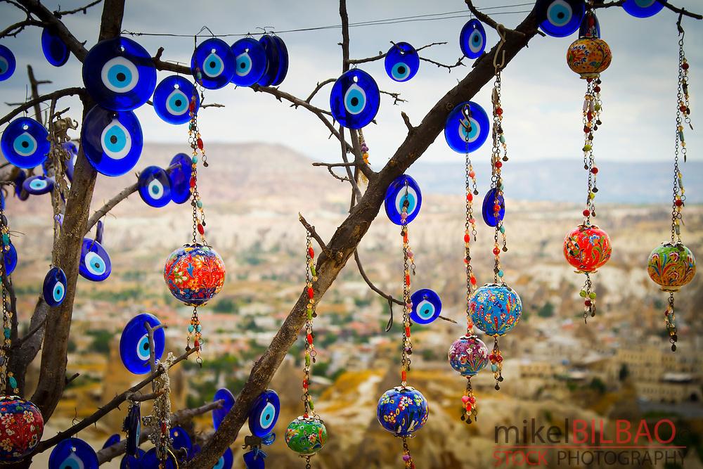 Tree with nazars or Evil eyes for sale. Goreme. Cappadocia Region. Nevsehir province. Turkey.
