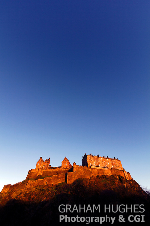 Edinburgh Castle, Scotland With Blue Sky