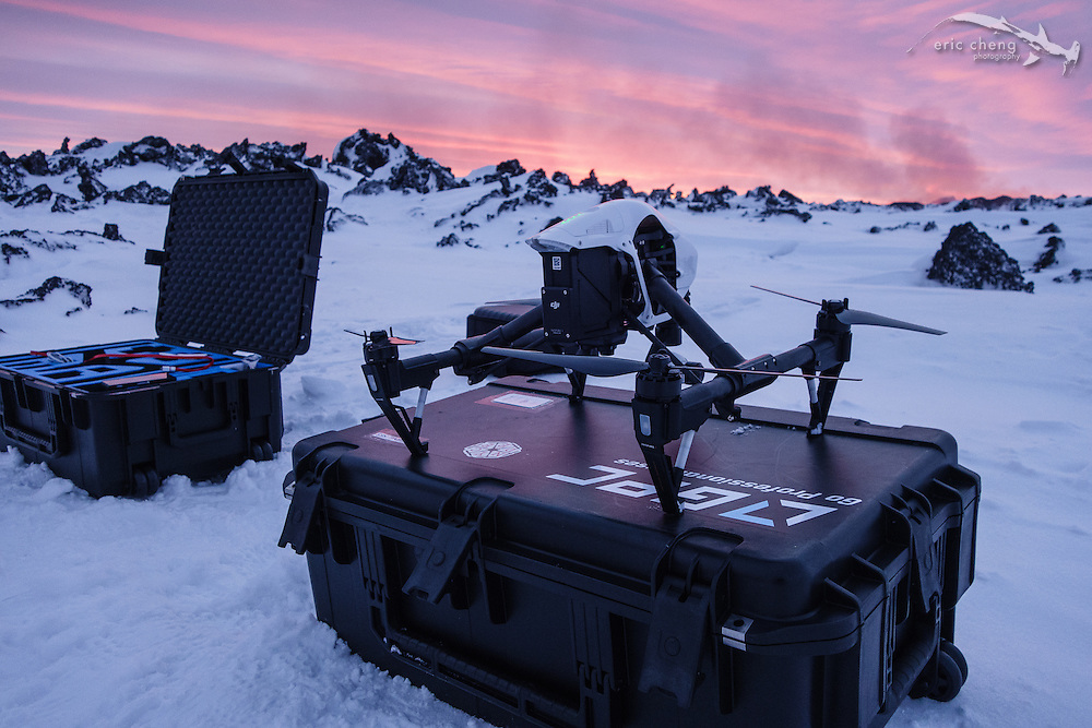 DJI Inspire 1 quadcopter ready for launch on a GPC (Go Professional Cases) case at Holuhraun eruption, Bardarbunga volcano.