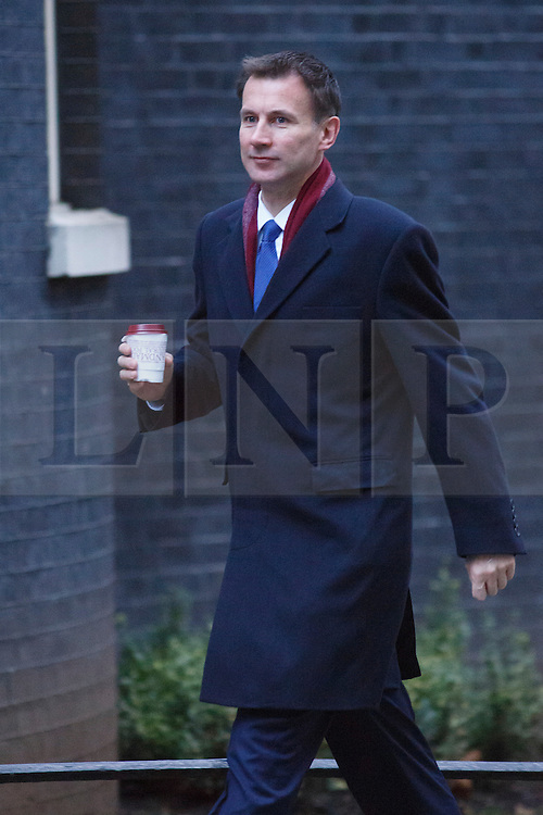 © licensed to London News Pictures. London, UK 07/01/2014. Health Secretary, Jeremy Hunt attending to a cabinet meeting in Downing Street on Tuesday, 7 January 2014. Photo credit: Tolga Akmen/LNP