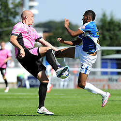 Cristian Montano of Bristol Rovers challenges Ryan Cresswell of Northampton Town - Mandatory byline: Neil Brookman/JMP - 07966386802 - 08/08/2015 - FOOTBALL - Memorial Stadium -Bristol,England - Bristol Rovers v Northampton Town - Sky Bet League Two