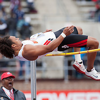 Jon Hill of the University of Maryland clears the bar during the College Men's High Jump at the Penn Relays athletic meets Friday, April 27, 2012 in Philadelphia, PA.