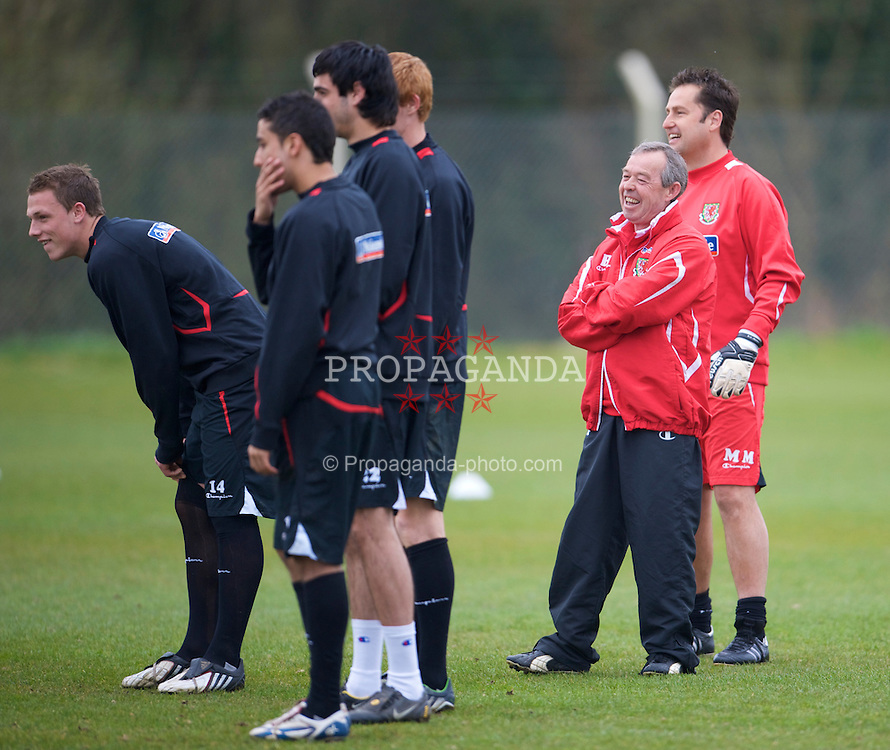 SWANSEA, WALES - Monday, March 30, 2009: Wales' Under-21 manager Brian Flynn during training at the Glamorgan Health & Racquets Club ahead of the UEFA Under-21 Championship Qualifying group 3 match. (Photo by David Rawcliffe/Propaganda)
