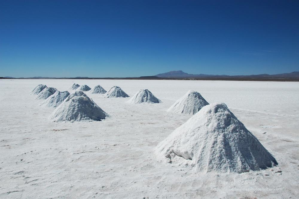 Drying salt mounds, Salar de Uyuni, Potosi, Bolivia
