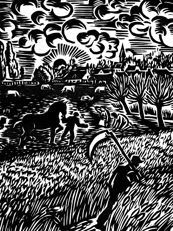 A black / white drawing of farmers engaged in harvesting