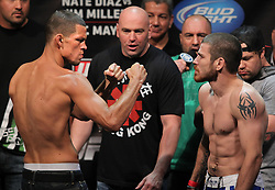 East Rutherford, NJ - May 04, 2012:   Nate Diaz (left) and Jim Miller (right) during the weigh-ins for UFC on FOX 3 at the Izod Center in East Rutherford, New Jersey.  Ed Mulholland for ESPN.com