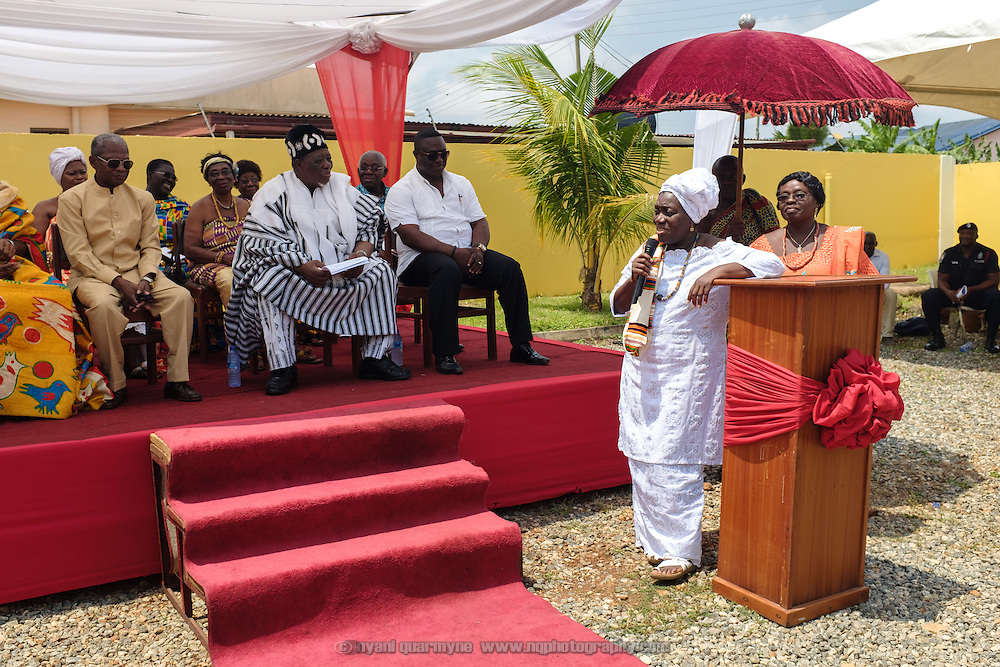 Professor Irene Korkoi Odotei of the Institute for Research, Advocacy and Training speaking at a swearing-in ceremony for newly elected members of a council of Queen Mothers in Accra, Ghana on 23 June 2015. A queen mother is a traditional female leader, drawn from the relevant chiefly lineage, who is responsible for women's and children's issues in particular. Though often widely respected and sometimes powerful, especially in matrilineal ethnic groups, their authority is subject to a male chief. After being suppressed during the colonial era, the role of queen mother is being revived in Ghana and is seen by many as a force for development. Prof. Odotei has been instrumental in spearheading this revival.