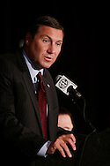 Mississippi State coach Dan Mullen talks with reporters during the Southeastern Conference football Media Days in Hoover, Ala., Wednesday, July 17, 2013.